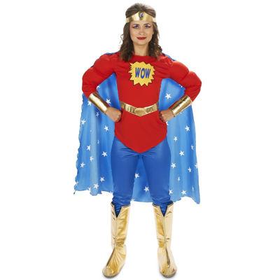 Pop Art Comic Super Woman - WOW with Leggings Adult Costume