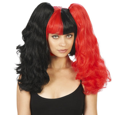 Red and Black 3 Piece Convertible Adult Wig