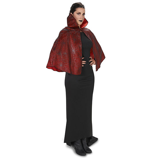 Red Foil Print Spiderweb Adult Cape