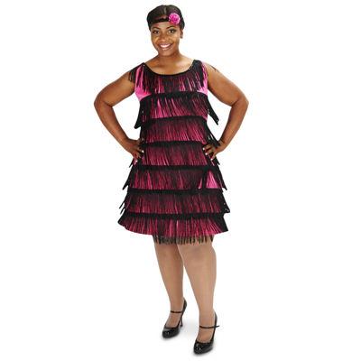 20's Pink Flapper Adult Plus Costume 1X