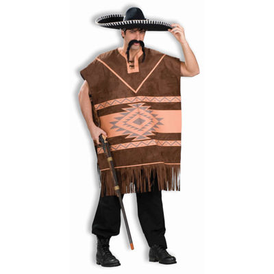 Western Brown Poncho Adult Costume - Medium