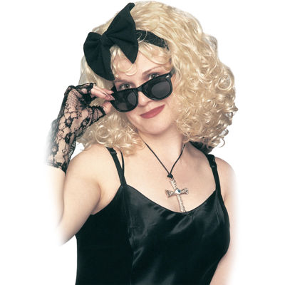 Pop Star 80's Wig with Bow