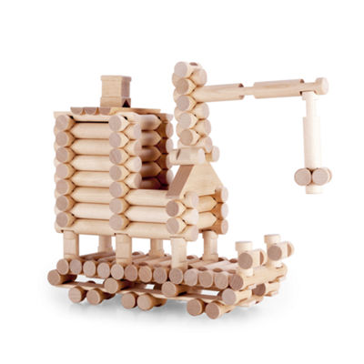 VARIS - Traditional ALL Wood Log Construction Toy with Endless Combinations, 222 Piece Set