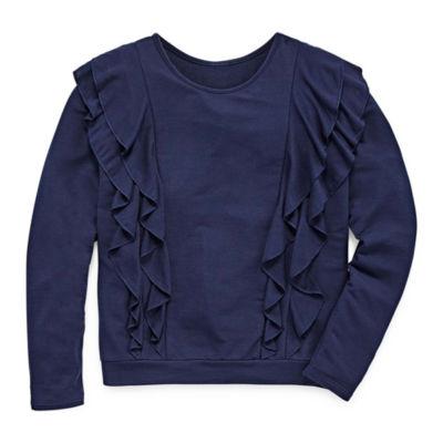 Arizona LS Ruffle Front Sweatshirt - Girl's 7-16 & Plus