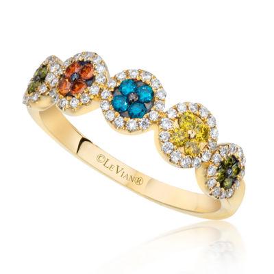 Grand Sample Sale™ by Le Vian® 1/2 CT. T.W. Blueberry Diamonds®, Cherryberry Diamonds™, Goldenberry Diamonds™ & Kiwiberry Green Diamonds™ 14K Honey Gold™ Ring