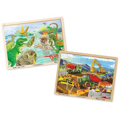 Melissa & Doug® 48 pc Jigsaw Puzzle Bundle - Dinosaur and Construction