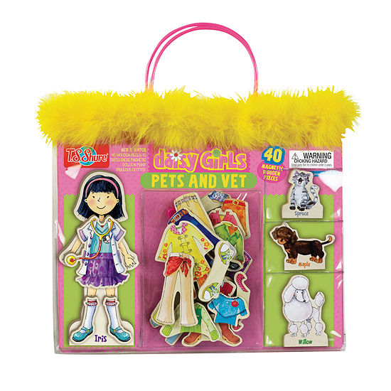 Daisy Girls Pets And Vet Wooden Magnetic Dress-Up Doll And Animals