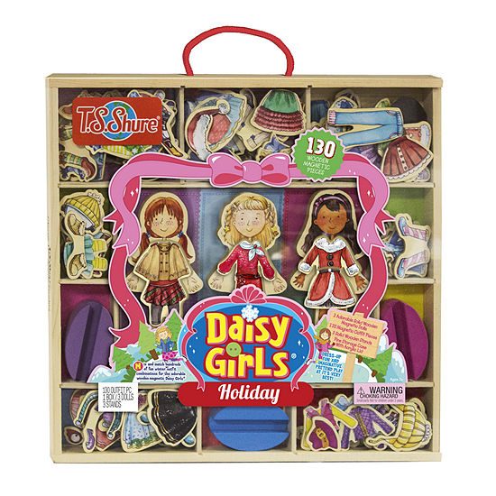 T.S. Shure - Daisy Girls Holiday Deluxe Set of 3 Wooden Magnetic Dress-Up Dolls