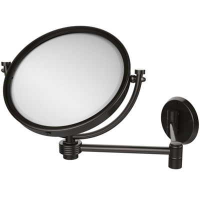 Allied Brass 8 Inch Wall Mounted Extending Make-UpMirror 5X Magnification With Groovy Accent