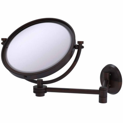 Allied Brass 8 Inch Wall Mounted Extending Make-UpMirror 3X Magnification With Groovy Accent