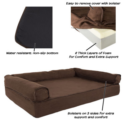 Petmaker Orthopedic Pet Sofa Bed with Memory Foamand Foam Stuffed Bolsters