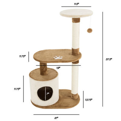 Petmaker Cat Tree Condo 3 tier with Condo and Scratching Posts in Brown and Tan