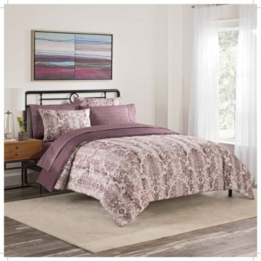 Simmons Emerson 7-pc. Damask + Scroll Complete Bedding Set with Sheets