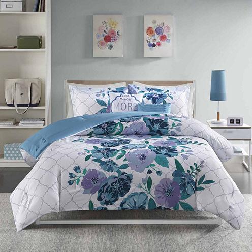 Intelligent Design Flora Ultra Soft Microfiber Floral Comforter Set