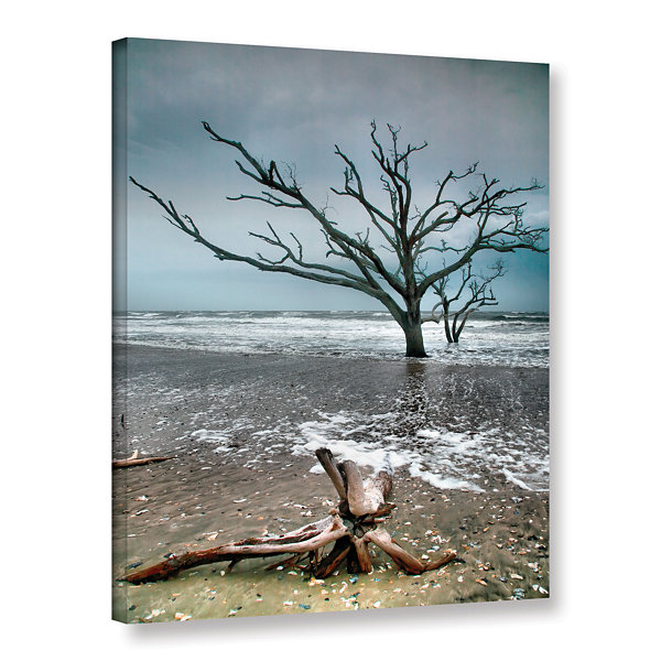 Brushstone Trees In Surf Gallery Wrapped Canvas Wall Art