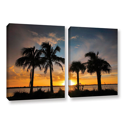 Brushstone Tropical Sunset 2-pc. Gallery Wrapped Canvas Wall Art