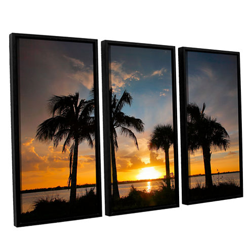 Brushstone Tropical Sunset 3-pc. Floater Framed Canvas Wall Art