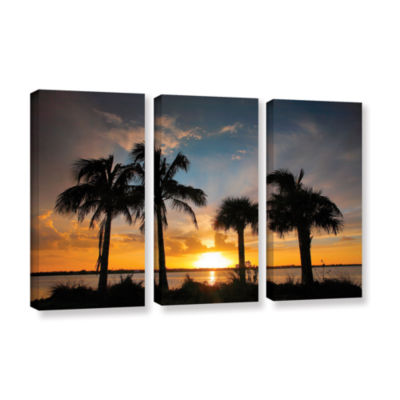 Brushstone Tropical Sunset 3-pc. Gallery Wrapped Canvas Wall Art