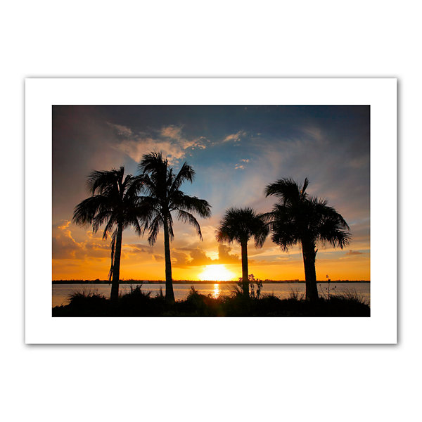 Brushstone Tropical Sunset Canvas Poster Wall Art