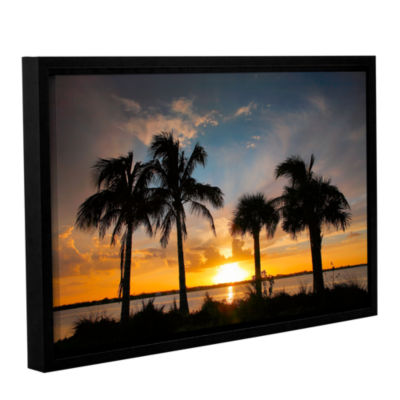 Brushstone Tropical Sunset Gallery Wrapped Floater-Framed Canvas Wall Art
