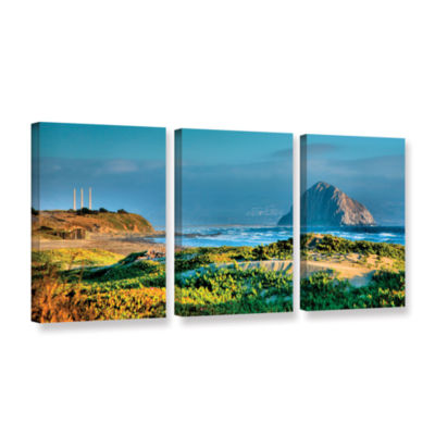 Brushstone Morro Rock and Beach 3-pc. Gallery Wrapped Canvas Wall Art