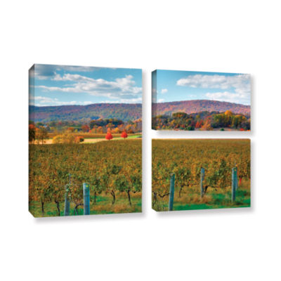 Brushstone Vineyard in Autumn 3-pc. Flag Gallery Wrapped Canvas Wall Art
