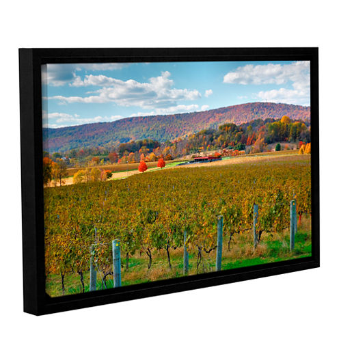 Brushstone Vineyard in Autumn Gallery Wrapped Floater-Framed Canvas Wall Art
