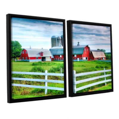 Brushstone Red Barn; White Fence 2-pc. Floater Framed Canvas Wall Art