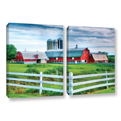 Brushstone Red Barn; White Fence 2-pc. Gallery Wrapped Canvas Wall Art