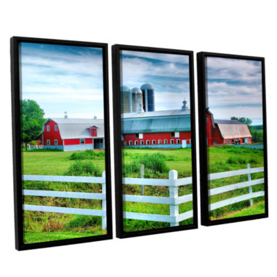 Brushstone Red Barn; White Fence 3-pc. Floater Framed Canvas Wall Art