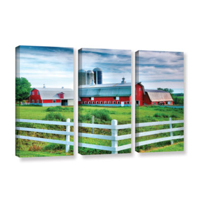 Brushstone Red Barn; White Fence 3-pc. Gallery Wrapped Canvas Wall Art