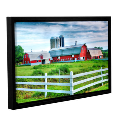Brushstone Red Barn White Fence Gallery Wrapped Floater-Framed Canvas Wall Art