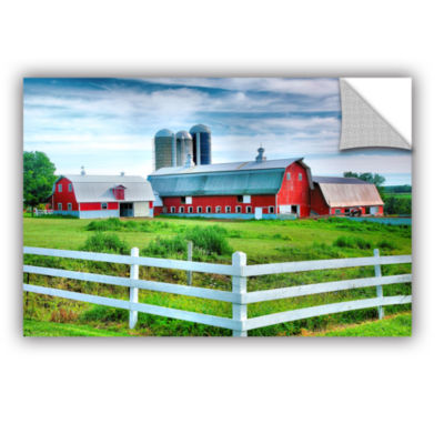 Brushstone Red Barn; White Fence Removable Wall Decal