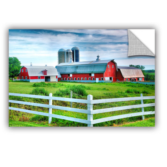 Brushstone Red Barn White Fence Removable Wall Decal