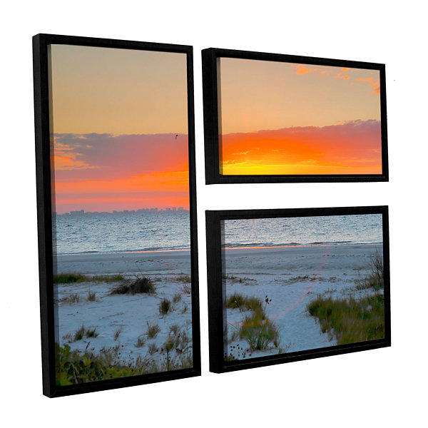 Brushstone Sanibel Sunrise IV 3-pc. Flag Floater Framed Canvas Wall Art