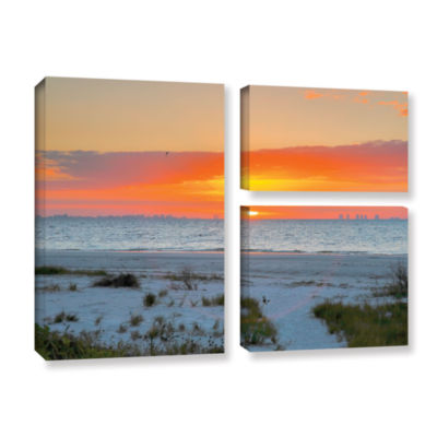 Brushstone Sanibel Sunrise IV 3-pc. Flag Gallery Wrapped Canvas Wall Art