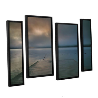 Brushstone Solitude I 4-pc. Floater Framed Staggered Canvas Wall Art