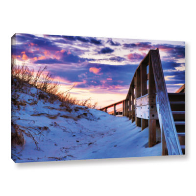 Brushstone Sunset at Ocracoke Gallery Wrapped Canvas Wall Art