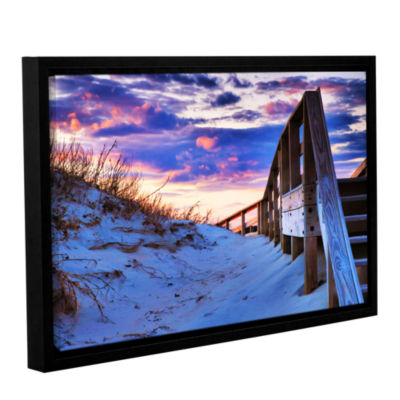 Brushstone Sunset at Ocracoke Gallery Wrapped Floater-Framed Canvas Wall Art
