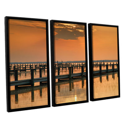 Brushstone Silver and Gold 3-pc. Floater Framed Canvas Wall Art