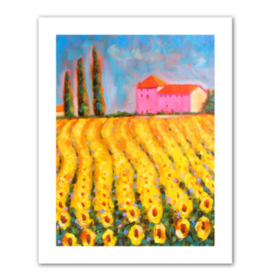 Brushstone Cryress and Sunflowers at Vall De Lot Canvas Wall Art