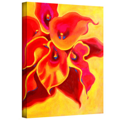 Brushstone Red Calla Shadow Gallery Wrapped CanvasWall Art