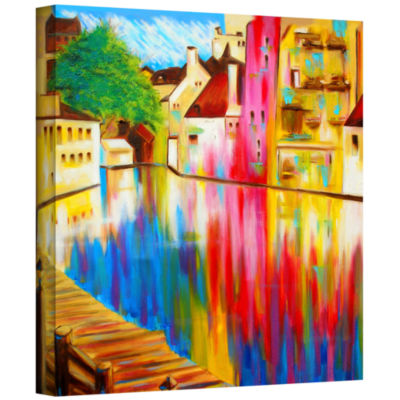 Brushstone River Through Treviso Gallery Wrapped Canvas Wall Art
