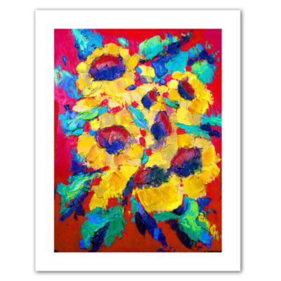 Brushstone Sunflower on Shingel Roof Canvas Wall Art