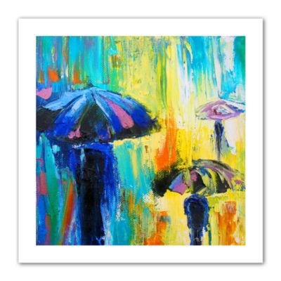 Brushstone Turquiose Rain Canvas Wall Art