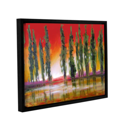 Brushstone Tuscan Cypress Sunset Gallery Wrapped Framed Canvas Wall Art