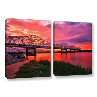 Brushstone Bridges At Sunrise 2-pc. Gallery Wrapped Canvas Wall Art