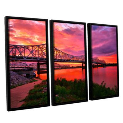 Brushstone Bridges At Sunrise 3-pc. Floater FramedCanvas Wall Art