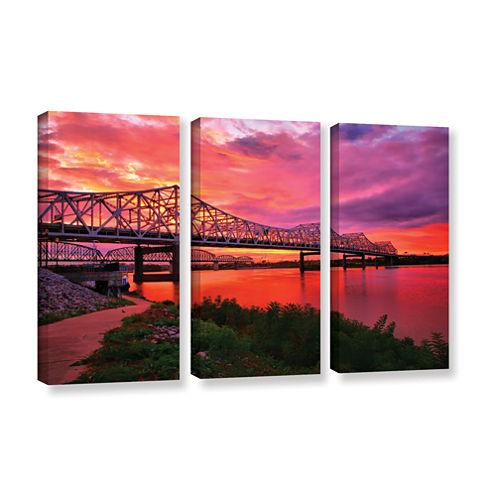 Brushstone Bridges At Sunrise 3-pc. Gallery Wrapped Canvas Wall Art