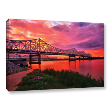 Brushstone Bridges At Sunrise Gallery Wrapped Canvas Wall Art